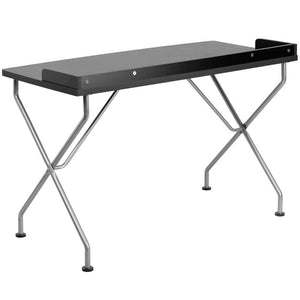 Riley Black/white Silver Frame Desk Office Desks Free Shipping