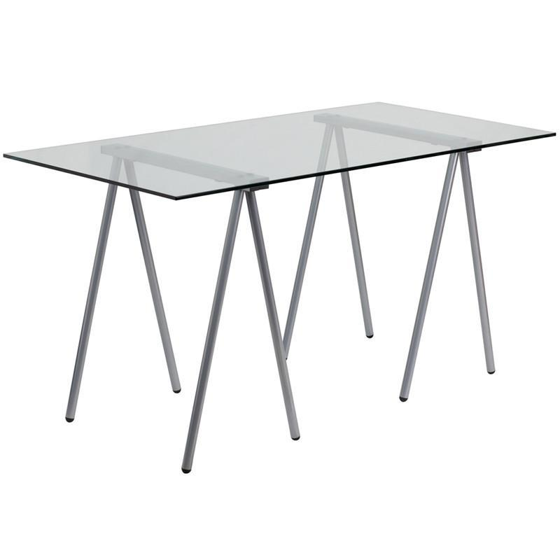 Ellie Silver Glass Desk Office Desks Free Shipping