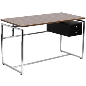 Viola Walnut Aluminum 2 Drawer Gaming Office Desk - Racer Gaming Chairs