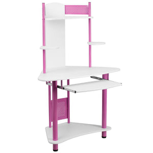 Margot Blue/Pink Small Corner Gaming Office Desk with Hutch - Racer Gaming Chairs