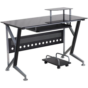 Cecil Black Large Gaming Office Desk with Pull-Out Tray and Cart - Racer Gaming Chairs