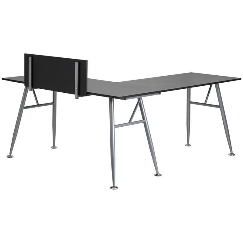 Julia Black Corner L Shaped Gaming Office Desk With Silver Frame