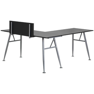 Julia Black Corner L-Shaped Gaming Office Desk with Silver Frame Finish - Racer Gaming Chairs