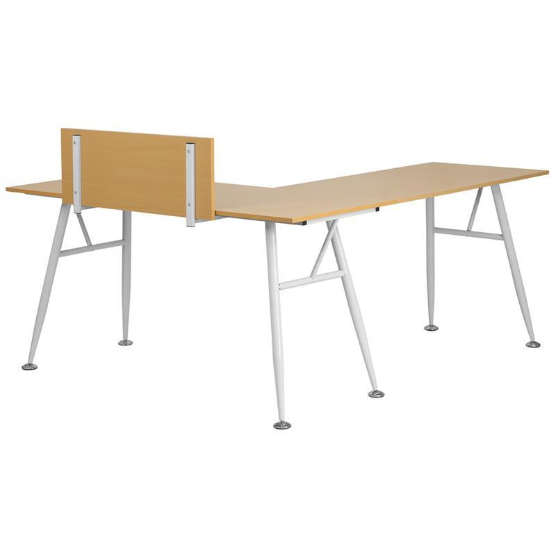 Julia Beech L-Shaped Office Desk With White Frame Finish Desks Free Shipping