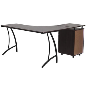 Ellie Walnut/beech 3 Drawer L-Shaped Office Desk Desks Free Shipping