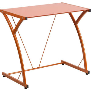 Maya Tempered Glass Office Desk Orange Desks Free Shipping