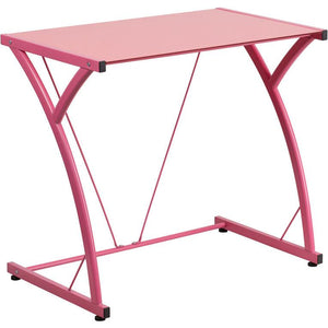 Maya Tempered Glass Office Desk Pink Desks Free Shipping