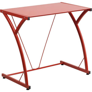 Maya Tempered Glass Office Desk Red Desks Free Shipping