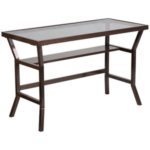 Lila Brown Aluminum Braced Contemporary Desk Office Desks Free Shipping