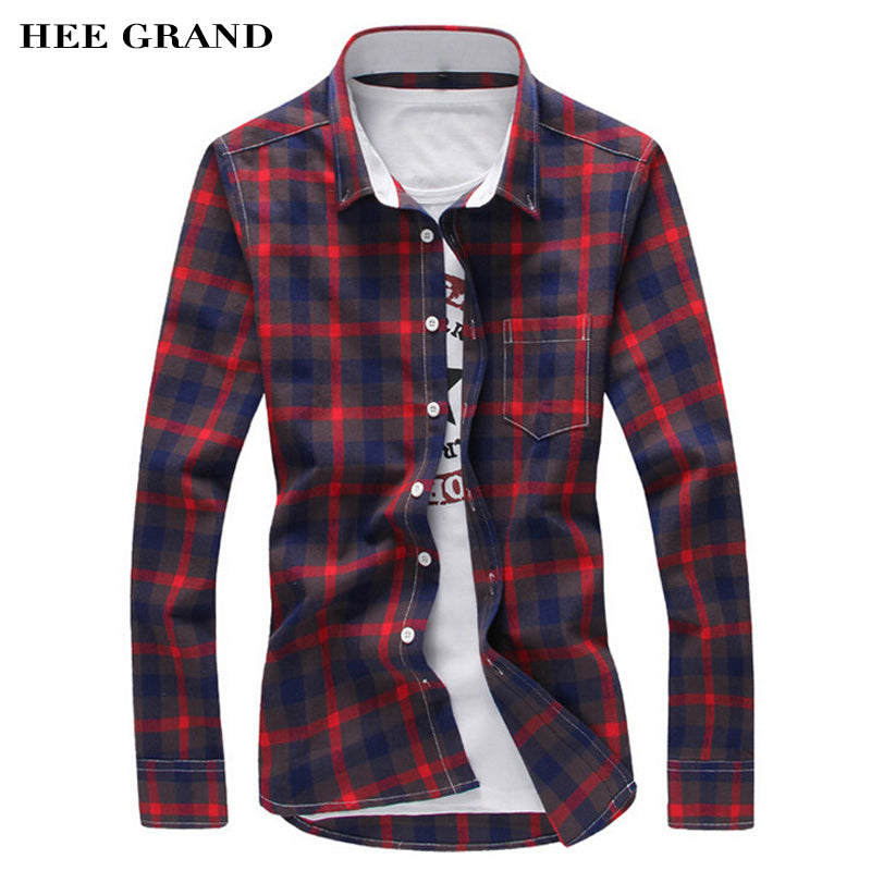 HEE GRAND Men's Slim Casual Plaid Shirts Turn-Down Collar