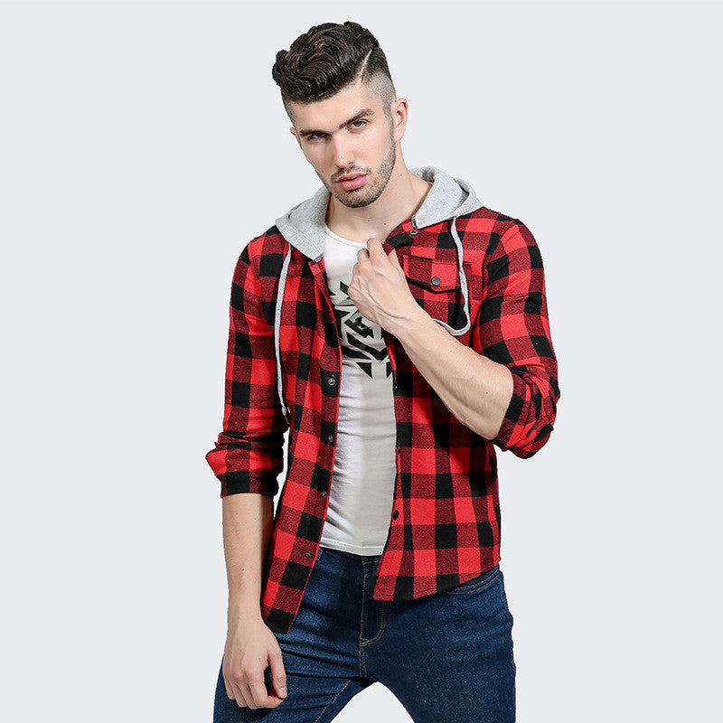 Men's Autumn Winter Long Sleeve Plaid Shirts Hooded