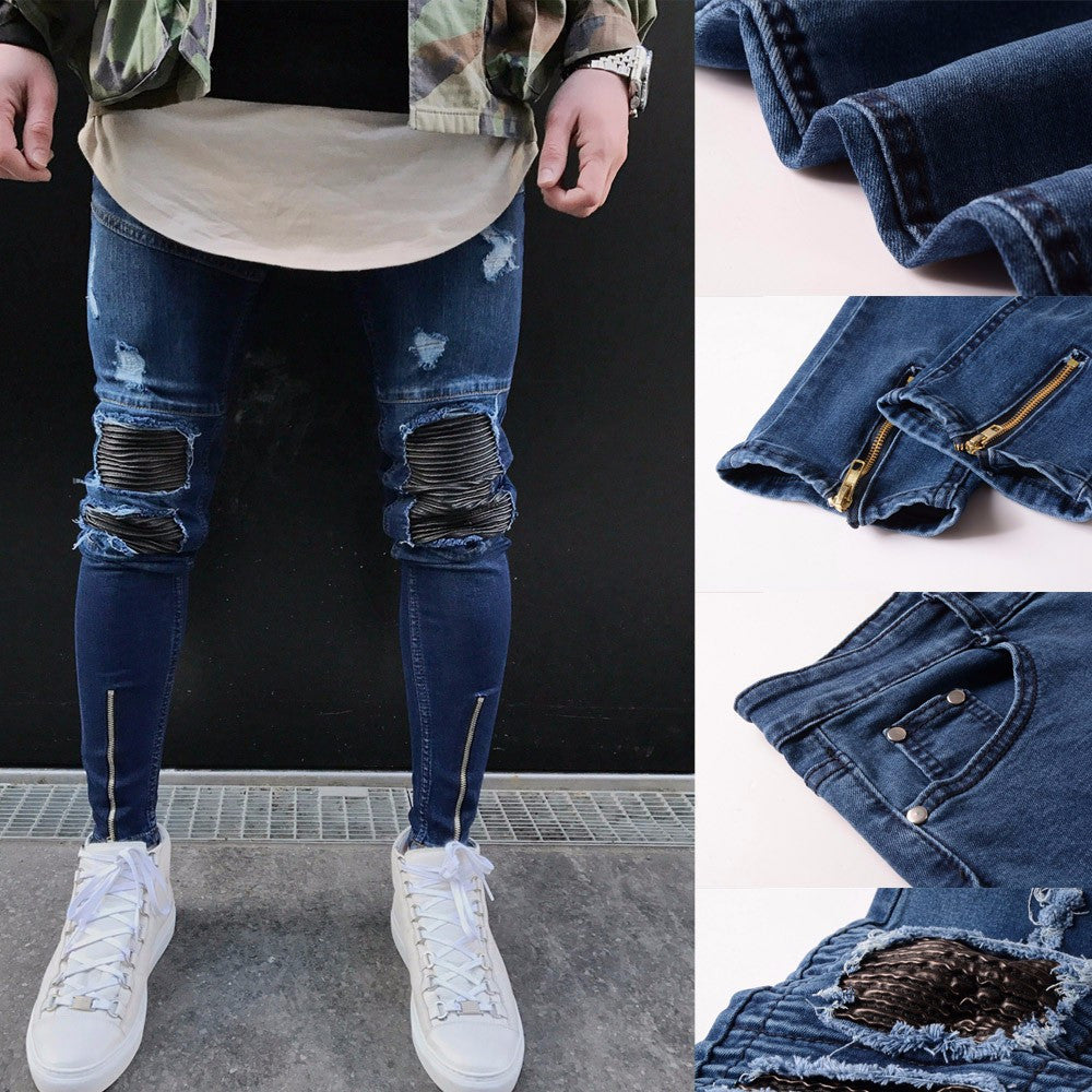 Mens Ripped Slim Fit Motorcycle Vintage Denim Jeans Hiphop Streetwear Pants Jeans