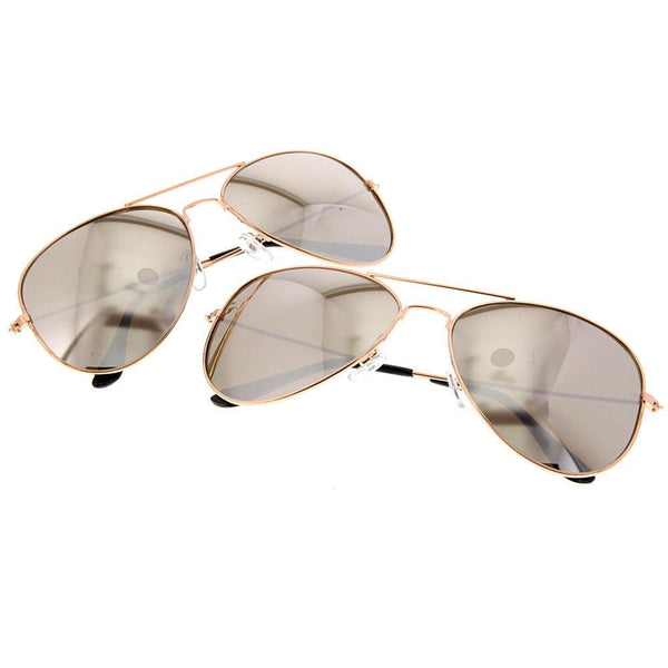 Aviator Copper Framed Mirrored Sunglasses - grinderPUNCH