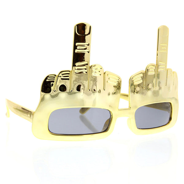 Party Middle Finger Sunglasses Chrome Flippin' Bird Fun Novelty - grinderPUNCH
