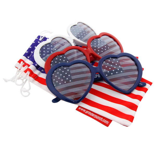 Women's Heart Shaped American Flag Sunglasses - grinderPUNCH