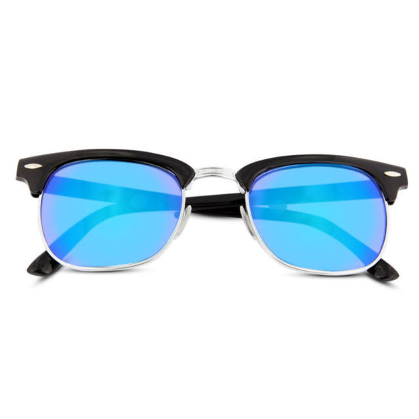Vintage Mirrored Square Half Frame Sunglasses - grinderPUNCH