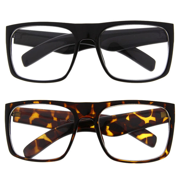 Men's Oversized Square Flat Top Clear Sunglasses - grinderPUNCH