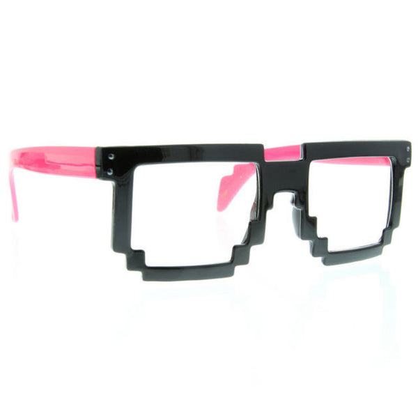 Retro 8 Bit Pixel Pixelated Clear Sunglasses Glasses Geek Nerd Computer Cartoon - grinderPUNCH