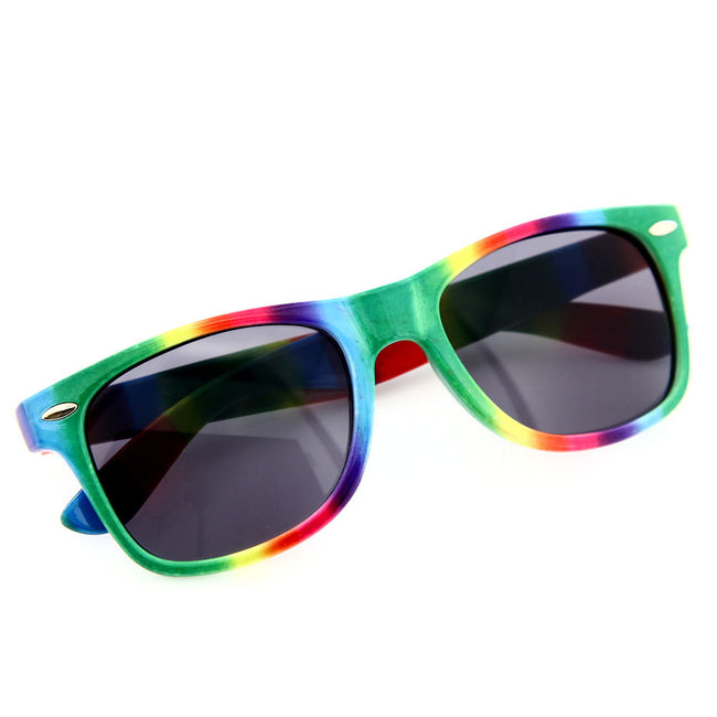 Rainbow Color Sunglasses Plastic Tie Dye Unique Pride Party - grinderPUNCH