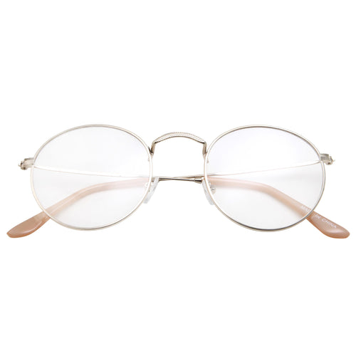 Retro Round Clear Lens Glasses with Metal Frame - grinderPUNCH