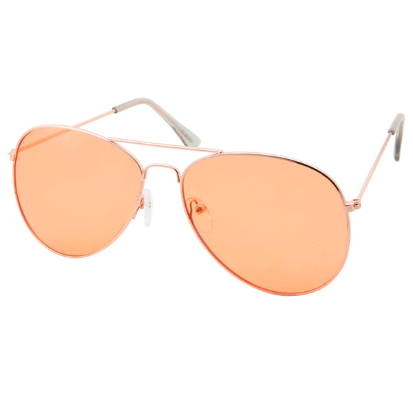 Slim Modern Color Tone Metal Aviator Sunglasses - grinderPUNCH