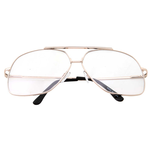 Large Oversized Clear Lens Aviators Square Shape - grinderPUNCH