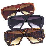 Large Oversized Hexagon Flat Top Sunglasses - grinderPUNCH