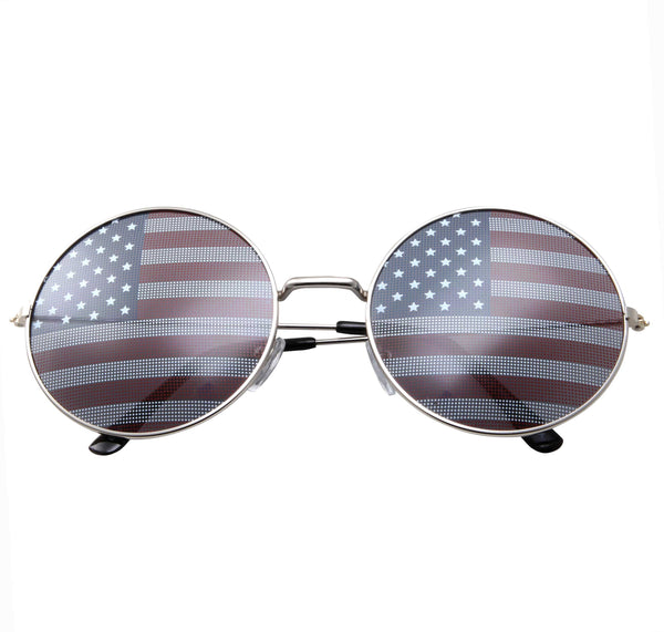 Oversized Round American Flag Novelty Sunglasses - grinderPUNCH