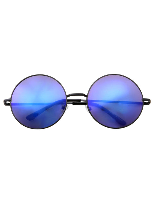 Large Round Color Mirrored Lens Fashion Sunglasses - grinderPUNCH