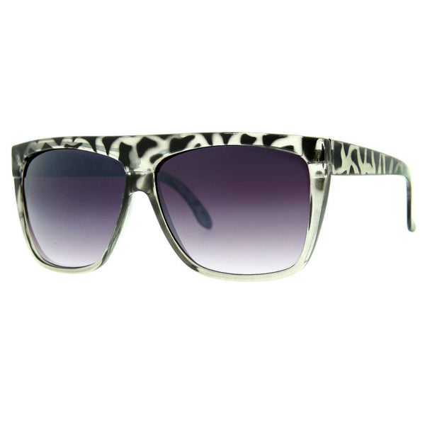 Oversized Leopard Print Flat Top Sunglasses - grinderPUNCH