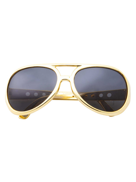 Large Retro King Of Rock And Roll Elvis Aviator Sunglasses - grinderPUNCH