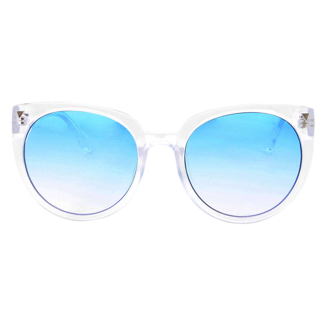 Women's Oversized Crystal Clear Cat Eye Ombre Color Lens Sunglasses - grinderPUNCH