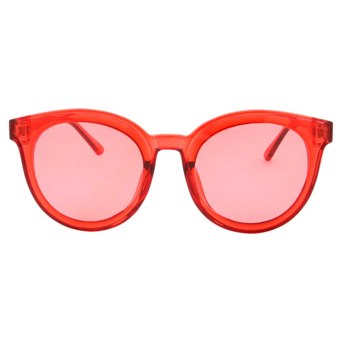 Women's Circular Horned Rim Clear Frame Color Lens Sunglasses - grinderPUNCH