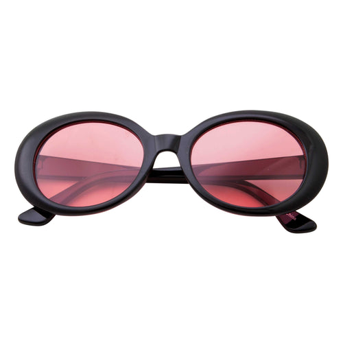 Women's Retro Tapered Arms Round Oval Sunglasses - grinderPUNCH