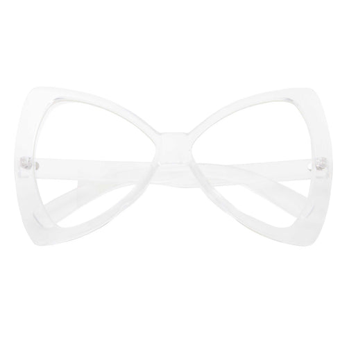 Oversized Retro Bow Tie Cat Eye Clear Glasses - grinderPUNCH