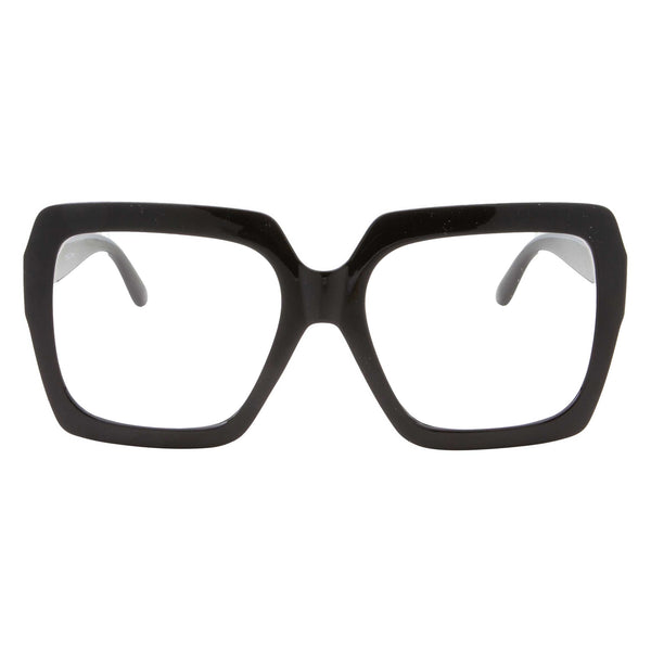 Oversized Retro Fashion Square Clear Glasses - grinderPUNCH