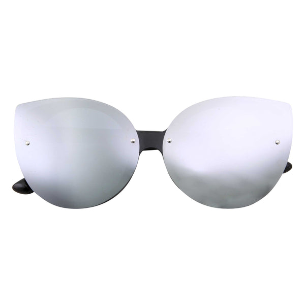 Fashion Rimless Cat Eye Mirror Flat Lens Sunglasses - grinderPUNCH