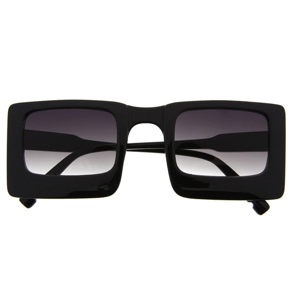 Women's Designer Inspired Square Flat Top Rectangle Sunglasses Thick Frame - grinderPUNCH