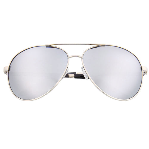 Oversized Aviator Sunglasses with Silver Mirror Lens - grinderPUNCH