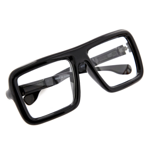 Oversized Bold Square Clear Sunglasses - grinderPUNCH