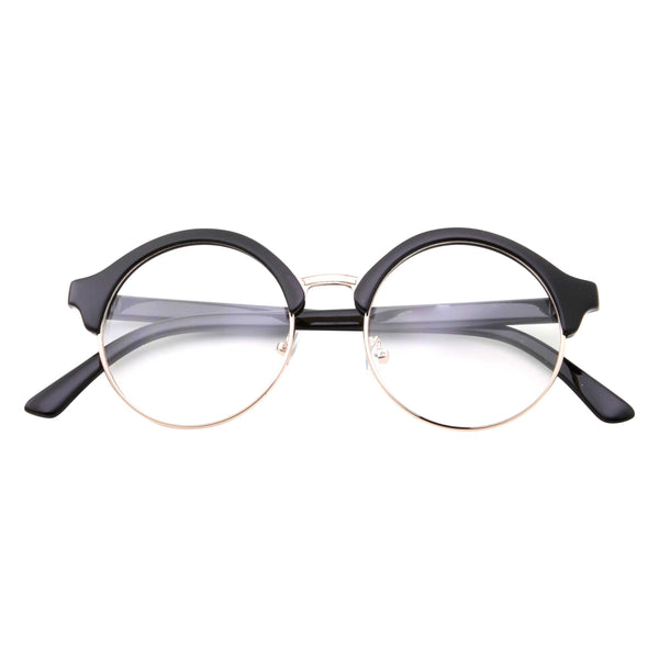 Retro Round Circle Clear Lens Fashion Glasses - grinderPUNCH