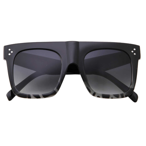 Retro Modern Square Block Flat Top Sunglasses - grinderPUNCH