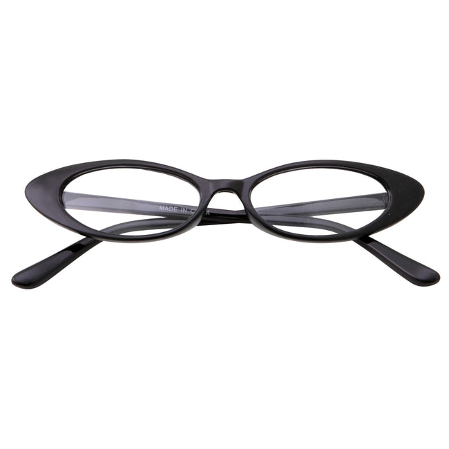 Retro 90s Slim Flat Lens Cat Eye Sunglasses - grinderPUNCH