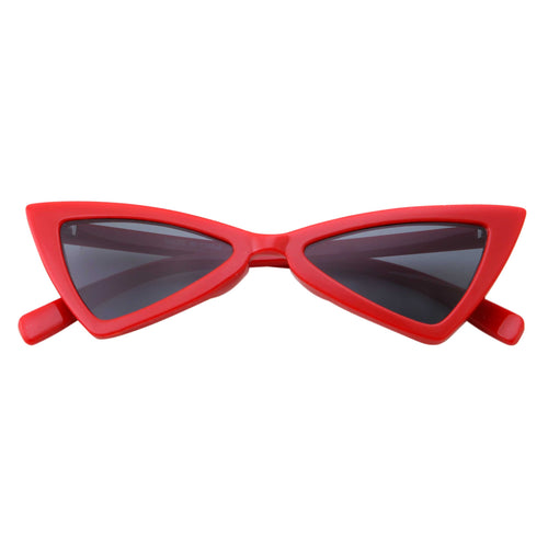 Womens Retro 90s Slim Triangle Cat Eye Sunglasses - grinderPUNCH