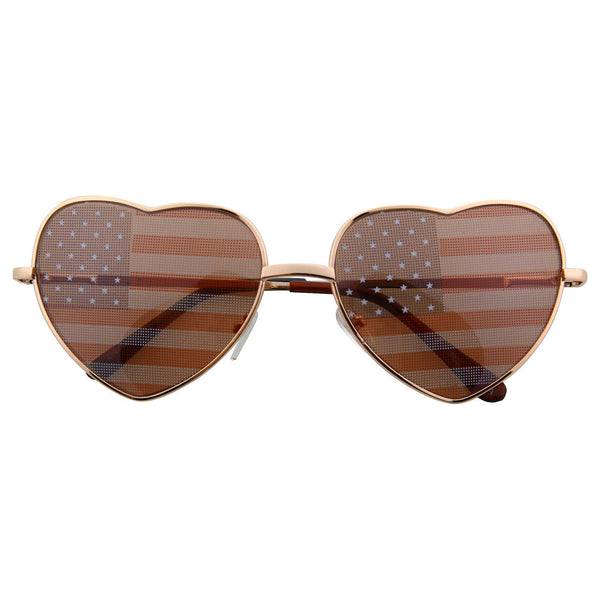Women's Heart Shaped American Flag Cute Sunglasses - grinderPUNCH