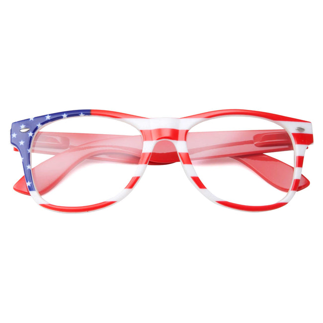 Clear Lens Classic American Flag Sunglasses - grinderPUNCH