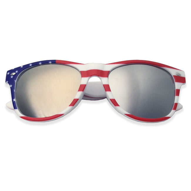 American Flag Classics Mirrored Lens Sunglasses (White Frame) - grinderPUNCH
