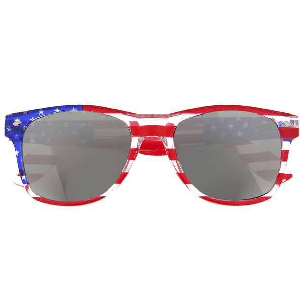 Crystal White American Flag Mirrored Lens Sunglasses - grinderPUNCH