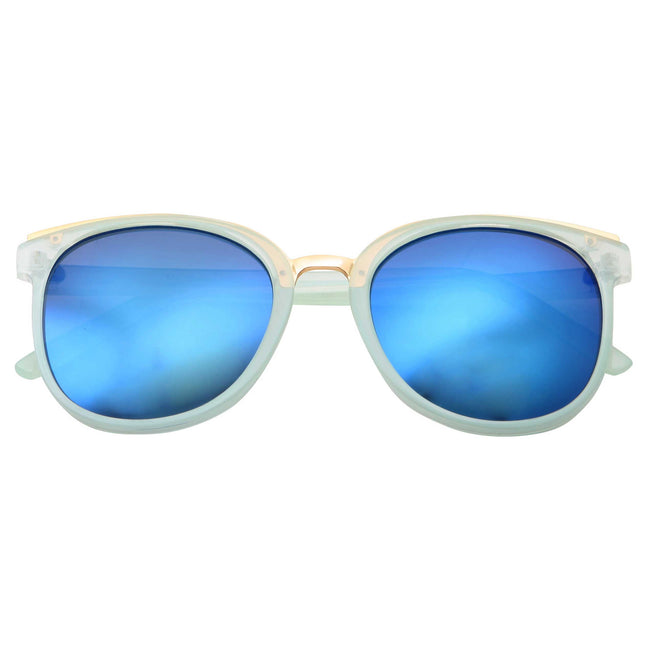 Fashion Dapper Horned Rim Mirrored Lens Sunglasses - grinderPUNCH