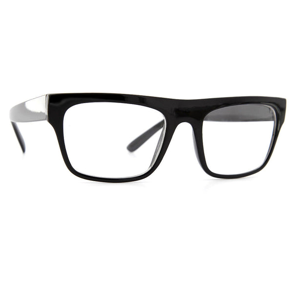 Flat Top Thick Brow Clear Glasses - grinderPUNCH